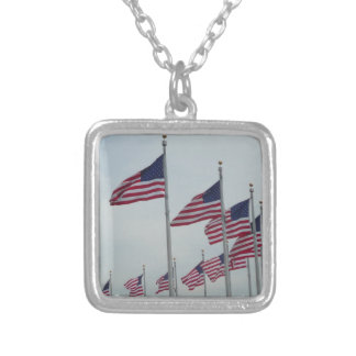 American Flags at the Washington Monument Square Pendant Necklace
