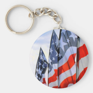 American Flags Basic Round Button Key Ring