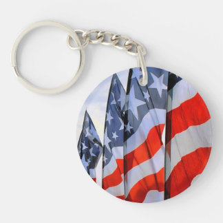 American Flags Double-Sided Round Acrylic Key Ring