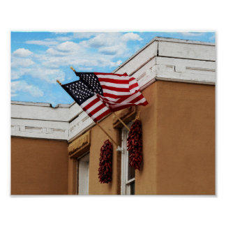 American Flags Flying on Albuquerque Adobe Poster