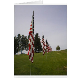 American flags in a row greeting card