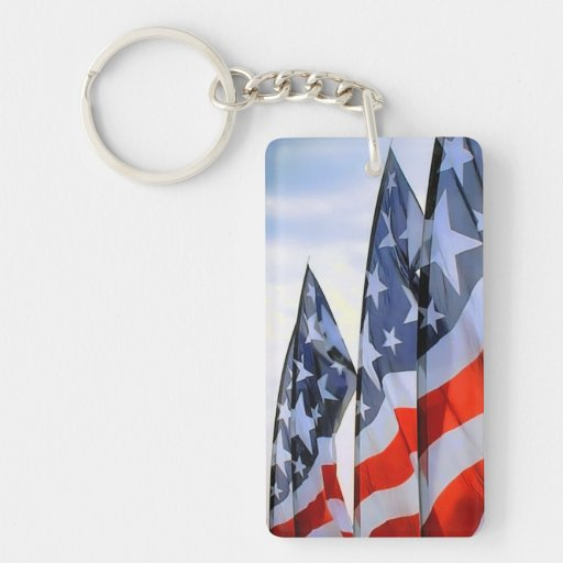 American Flags Rectangular Acrylic Key Chains