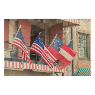 American Flags Line The Street Wood Print