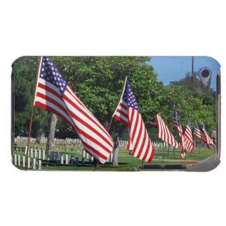 American flags lining street, cemetery in barely there iPod cases