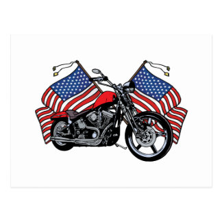 American Flags Motorcycle Postcards