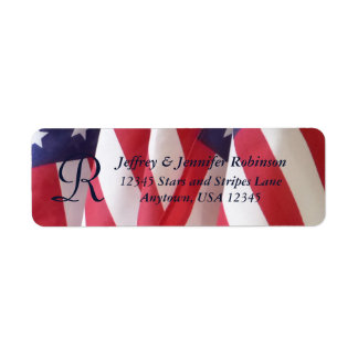 American Flags Name and Address Label Monogram