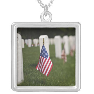 American flags on tombs of American Veterans on Necklaces