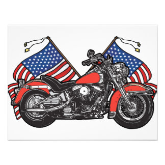 American Flags Patriotic Motorcycle Personalized Invitations