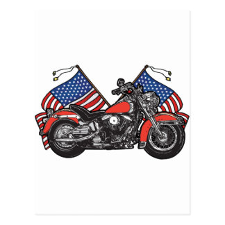 American Flags Patriotic Motorcycle Post Cards