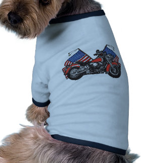 American Flags Patriotic Motorcycle Ringer Dog Shirt