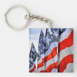 American Flags Square Single-Sided Square Acrylic Key Ring
