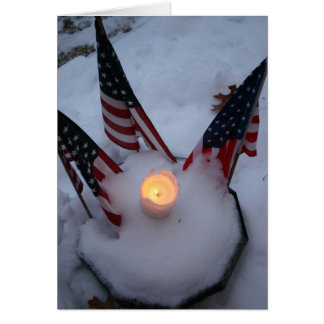 American Flags with Candle Greeting Card