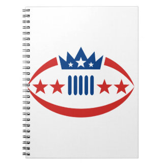 American Football Ball Crown Star Icon Notebook