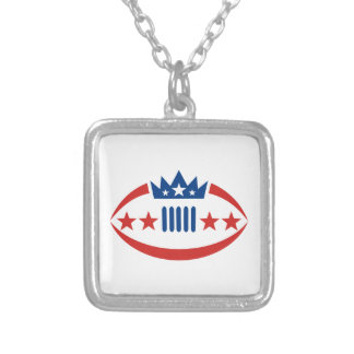 American Football Ball Crown Star Icon Silver Plated Necklace