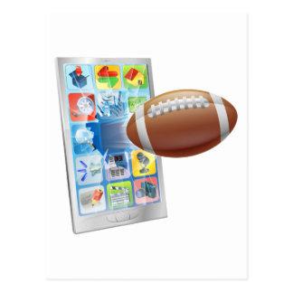American football ball mobile phone postcards