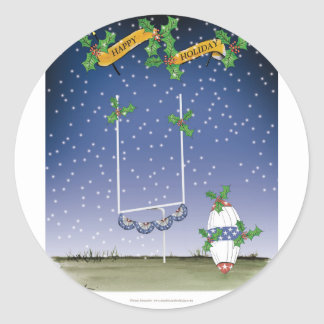 american football happy holiday classic round sticker