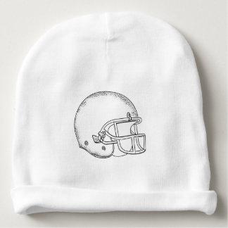 American Football Helmet Black and White Drawing Baby Beanie