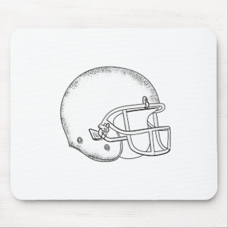 American Football Helmet Black and White Drawing Mouse Pad