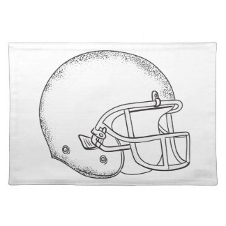 American Football Helmet Black and White Drawing Placemat