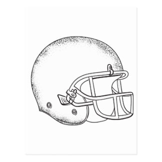 American Football Helmet Black and White Drawing Postcard