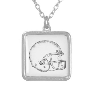 American Football Helmet Black and White Drawing Silver Plated Necklace