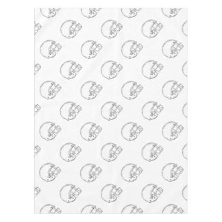 American Football Helmet Black and White Drawing Tablecloth