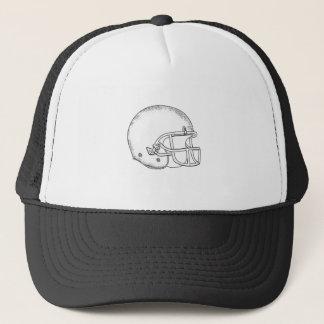 American Football Helmet Black and White Drawing Trucker Hat