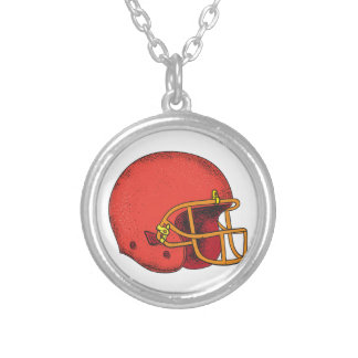 American Football Helmet  Tattoo Silver Plated Necklace