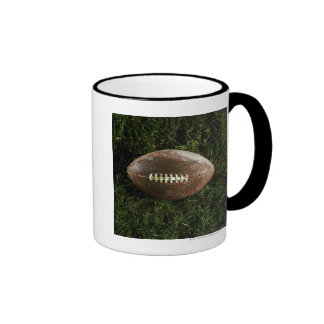 American football on grass, view from above ringer mug