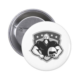 American Football Player Helmet Grayscale Buttons
