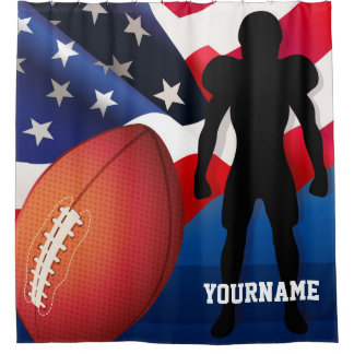 American Football Player Silhouette with US Flag Shower Curtain