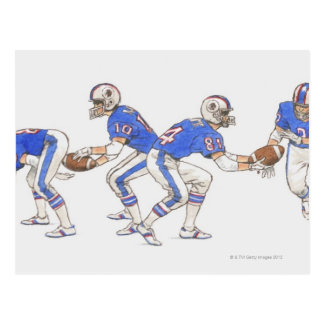 American football players demonstrating moves postcard
