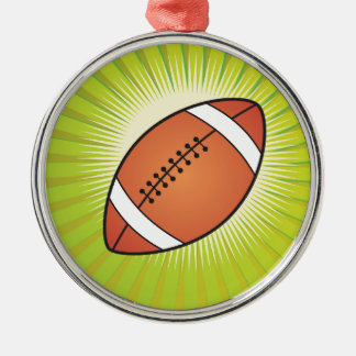 American Football Rugby Silver-Colored Round Decoration