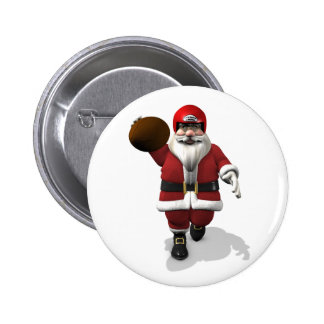 American Football Santa Claus Pinback Button