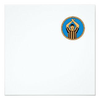 American Football Umpire Hand Signal Circle Mono L Card