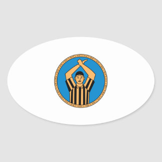 American Football Umpire Hand Signal Circle Mono L Oval Sticker