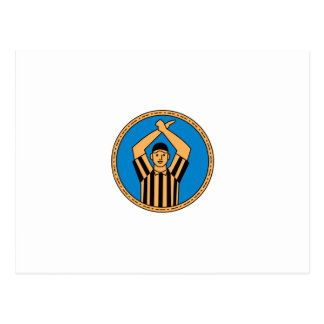 American Football Umpire Hand Signal Circle Mono L Postcard