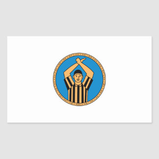 American Football Umpire Hand Signal Circle Mono L Rectangular Sticker