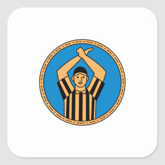 American Football Umpire Hand Signal Circle Mono L Square Sticker
