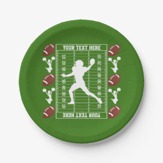 American Football Your Text and Background Color Paper Plate