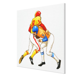 American footballer blocking an opponent canvas print