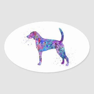 American foxhound, American foxhound watercolor Oval Sticker