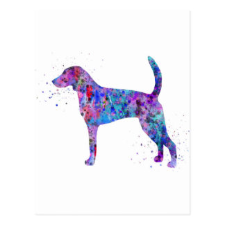 American foxhound, American foxhound watercolor Postcard