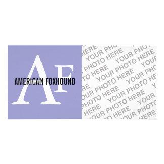 American Foxhound Breed Monogram Customised Photo Card