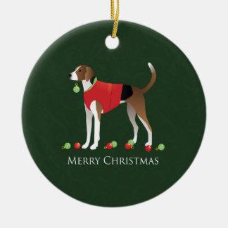 American Foxhound Christmas Ceramic Ornament