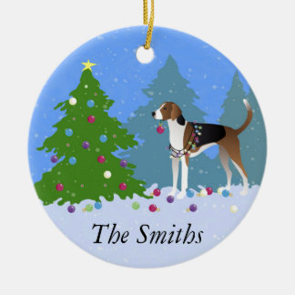 American Foxhound decorating christmas tree-forest Ceramic Ornament