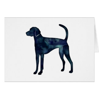 American Foxhound Dog Black Watercolor Silhouette Card