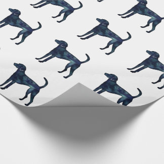 American Foxhound Dog Black Watercolor Silhouette Wrapping Paper
