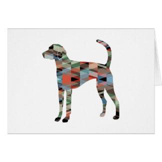 American Foxhound Dog Geo Pattern Silhouette Plaid Card
