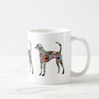 American Foxhound Dog Geo Pattern Silhouette Plaid Coffee Mug